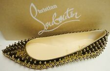 Christian Louboutin Pigalle Spikes Pointed Toe Flats Shoes Bronze 39.5
