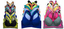 Lot 1 6 Wire Free /Wired Light Padded Raceback Spandex Cotton Sports BRA B/C/D