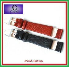 "20mm BLACK or CHESTNUT BROWN Genuine Leather Watch Straps,  ""FLAT ELEGANCE"" FL"