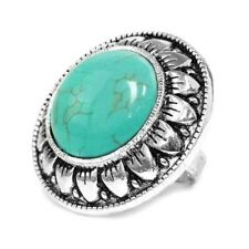 Vintage Shield Design Fashion Ring with Faux Turquoise Oval Stone - One Size