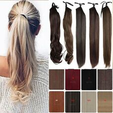 AU 100% real thick Drawstring Clip In Ponytail Hair Extension Natural Color THo