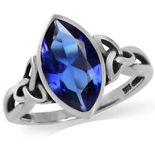 Marquise Shape Tanzanite Blue CZ 925 Sterling Silver Celtic Knot Ring