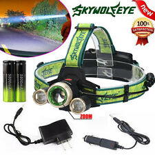 ZOOM 15000Lm CREE XM-L 3x T6 LED 18650 Headlamp Headlight Light Charger Battery