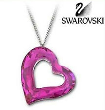 Swarovski Large Crystal Loveheart Fuchsia Pink HEART Pendant Necklace 1087208