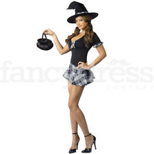 Saucy School Girl Witch Halloween Fancy Dress Costume Sexy Dress Outfit NEW
