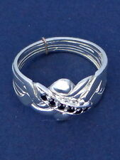Silver & Sapphire Turkish Puzzle Ring - 5 Bands Sterling Plated & 6 Accent Gems