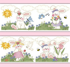 Bunny Nursery Wallpaper Border Wall Art Decals Girl Woodland Animal Stickers