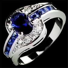 Fashion Blue Sapphire White Gold Filled Engagement Ring Women Jewelry Size 7 8 9