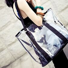 Women Jelly Candy Clear Transparent Handbag Shoulder Tote Ladies PVC Beach Bag