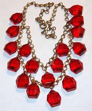 ANTIQUE ART DECO NOUVEAU RED GLASS DROPS UNUSUAL CHAIN BIB FESTOON NECKLACE