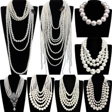 Fashion White Resin Pearl Chain Chunky Choker Statement Pendant Bib Necklace New
