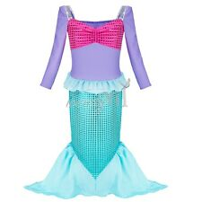 Little Mermaid Long Sleeve Shiny Fancy Dress Party Costume Girls Princess Outfit