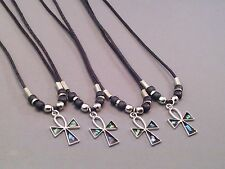 Pendant Necklace ANKH PAUA SHELL CROSS Silver Tone Bead Accents GIFT!