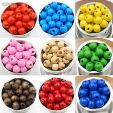 100pcs Round Wood Ball Spacer Loose Beads Pick Colors 4mm 6mm 8mm 10mm 12mm 14mm