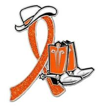 Orange Ribbon Awareness Western Cowboy Boots Pin Many Cancer Causes Kidney New