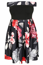 Yoursclothing Plus Size Womens Floral Bardot Skater Dress