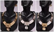 STATEMENT FAUX RHINESTONE SQUARE PENDANT CHOKER EARRING NECKLACE SET