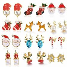 Fashion Christmas Jewelry Snowflake Deer Bell Ear Stud Earrings Women Lady Gifts