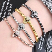 Charm Skull Mens 18K Macrame Bracelet Style Braided Balls Beaded Bangle Jewelry