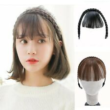 Nature Color Lady Short Straight Clip Braids Neat Bangs Hair Extension One Piece