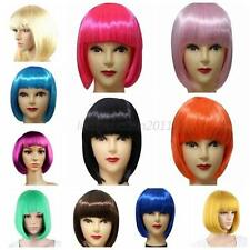 BOBO Cosplay Party Full Wigs Hair Inclined Bangs Short Straight Wig 13 Colors