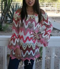 ADORABLE PINK CORAL YELLOW CHEVRON SWEATER BOHO GYPSY MINI DRESS TUNIC S M L