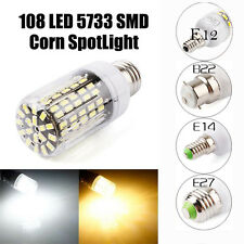 5733SMD E14 E27 B22 E12 108PCS LED Corn Bulb Light Cover Lamp Black PCB 220-240V
