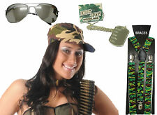 Unisex Camouflage Army Soldier Hat Dog Tag Cap Sunglasses Fancy Dress Accessorie