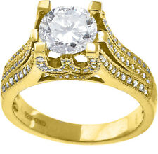 New Ladies Yellow Finish Sterling Sliver Solitaire Lab/Simulated Diamond Ring