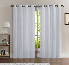 2 Piece CRUSHED Sheer Window Curtain Grommet Panels Hotel Quality Drapes