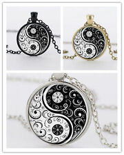 Yin Yang Cabochon Silver Chain Flower New Alloy Glass Tibet Pendant Necklace