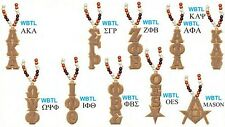 "Greek Or Mason Wood Bead Tiki Drop Letter Medallion Necklace [18"" x 4.5""]"