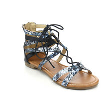 JELLY BEANS DB59 Girl's Back Zip Lace Up Strappy Gladiator Flat Ankle Sandals