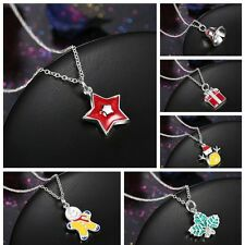 New Christmas Bell Santa Tree Boot Wreath Pendant Necklace Xmas Jewelry Gift