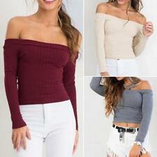 Women Pullover Sexy Short Blouse Casual Tops Knit Sweater Off Shoulder T-Shirt
