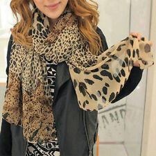 Fashion Women's Soft Wrap Lady Shawl Silk Leopard Chiffon Long Scarf Shawl  hs