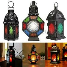 Glass Metal Moroccan Delight Candle Holder Tealight Hanging Lantern Garden Lamp