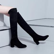 Women High Chunky Heel Over The Knee Boots Pointed Toe Preppy Shoes Fashion Sz