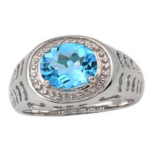 Sterling Silver Men Ring 8x10mm Natural Swiss Blue Topaz Crystal Jewelry