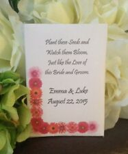 50  Personalized Wedding Seed Packets, daisy wedding favors, orange daisy favors