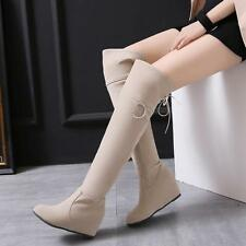 Over Knee Boot High Wedge Heel Zipper Shoes Women Fashion Ladies US ALL Size New