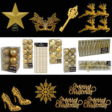 Gold Glitter/Plain Christmas Tree Decorations Baubles Stars Cones & More