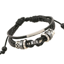 Vintage Punk Leather Bracelet  Mens Women Wooden Bead Braided Wirstband Bangle