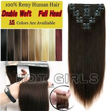 Double Wefted Extra Thick Clip In Remy Human Hair Extensions Full Head 160gSC125