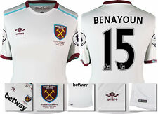 16 / 17 - UMBRO WEST HAM UNITED AWAY SHIRT SS + PATCHES  BENAYOUN 15 = KIDS SIZE