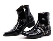 Mens Motor Metal Buckle Punk Pointy Toe Cowboy ANkle Boot Chains Leather Shoes
