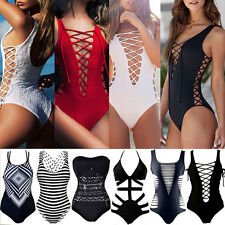 UK Women Beach Bathing Suit Bikini Bandage Monokini Swimsuit Tankini Swimwear LC