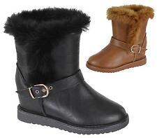 WOMANS FLAT ANKLE FAUX FUR COMFY COLLAR WARM WINTER WEDGE SHOES BOOTS SIZE 3-8