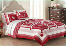 3 pc- Nicholas Holiday Reversible QUILT + SHAMS 100% Cotton Snowflakes RED WHITE