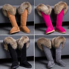 Luxurious Womens Big Fur Real Leather Knee High Boots Flats Snow Winter Boot
